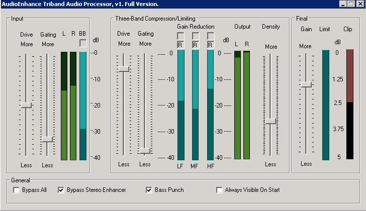 Software audio compressor limiter for broadcast, webcast